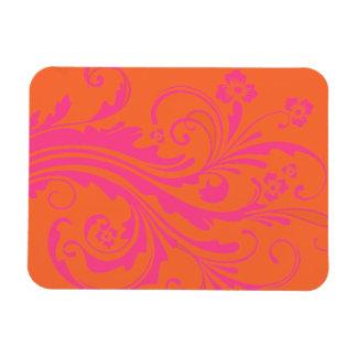 Orange and Hot Pink Floral Chic Wedding Rectangular Photo Magnet
