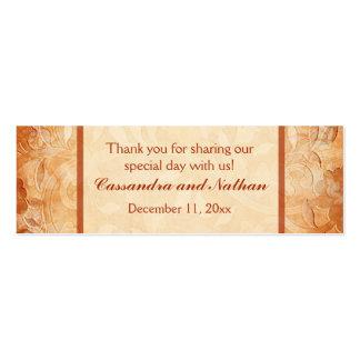 Orange and Ivory Floral Wedding Favor Tag Pack Of Skinny Business Cards