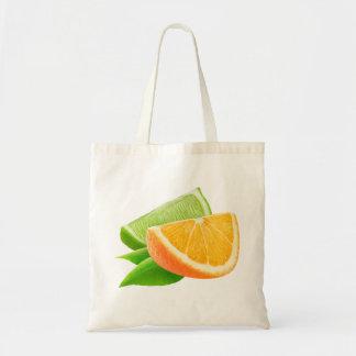Orange and lime budget tote bag