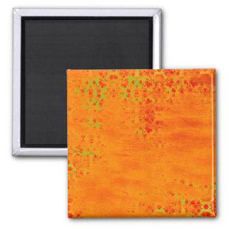 Orange and Lime Color Pattern Collage Refrigerator Magnet