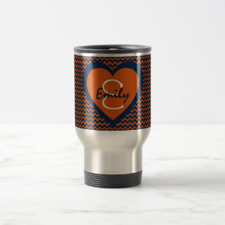 Orange and Navy Blue Monogram Travel Mug