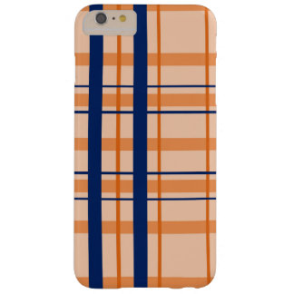 Orange and Navy Blue Plaid iPhone Case