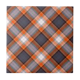 Orange and Navy Blue Plaid Small Square Tile