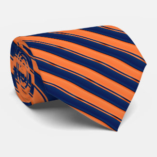 Orange and Navy Blue Stripes Tie