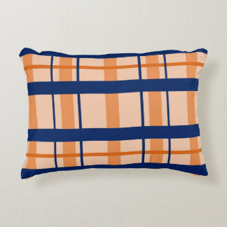 Orange and Navy Blue Throw Pillow
