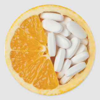 Orange and pills classic round sticker