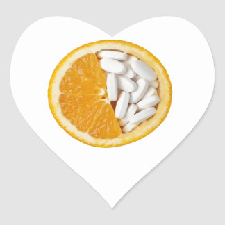 Orange and pills heart sticker