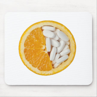 Orange and pills mouse pad