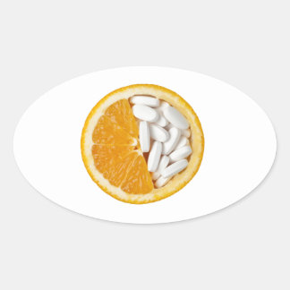 Orange and pills oval sticker