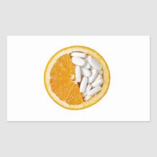 Orange and pills rectangular sticker