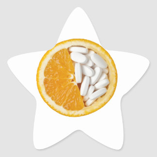 Orange and pills star sticker