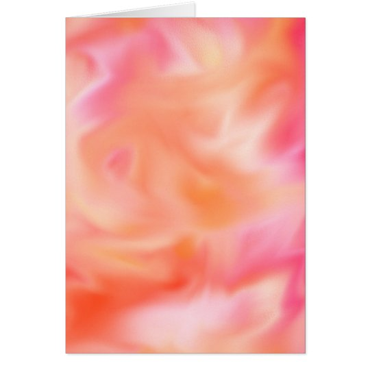 Orange and pink abstract blank greeting card