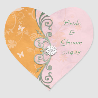 Orange and Pink and Green Wedding Heart Sticker