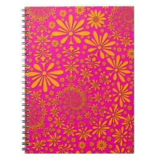 Orange and Pink Floral Pattern Spiral Notebook