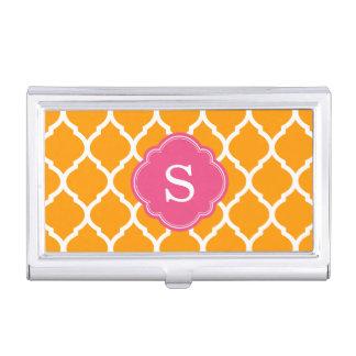 Orange and Pink Moroccan Quatrefoil Monogram Business Card Holder