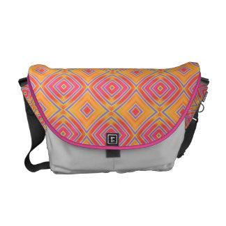 Orange and Pink Pattern Rickshaw Messenger Bag