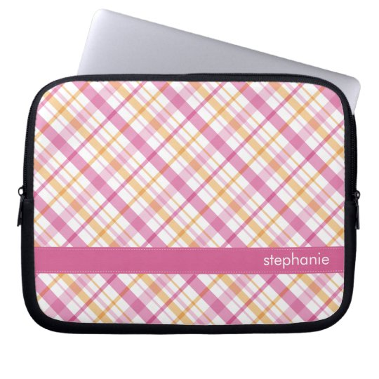 Orange and Pink Plaid Pattern Laptop Sleeve