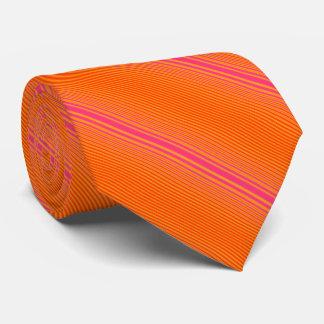 Orange and Pink Striped Pattern Tie