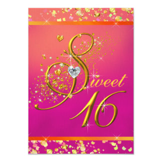 "Orange and Pink Sweet Sixteen Party 4.5"" X 6.25"" Invitation Card"