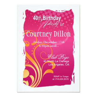 Orange and Pink Swirl 40th Birthday Party 13 Cm X 18 Cm Invitation Card