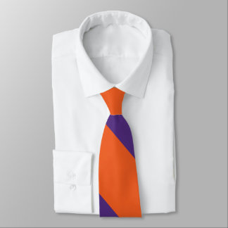 Orange and Plum Broad University Stripe Tie