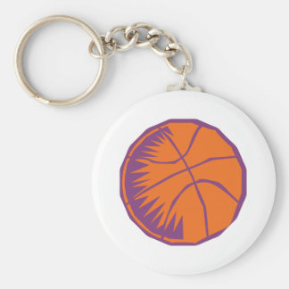 orange and purple basketball graphic basic round button key ring