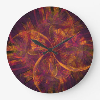 Orange And Purple Fractal Swirl Clocks