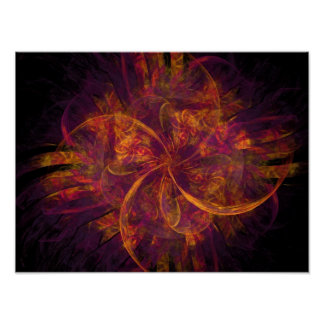 Orange And Purple Fractal Swirl Posters
