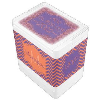 Orange and Purple Monogram Cooler