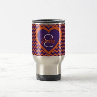 Orange and Purple Monogram on Heart Travel Mug