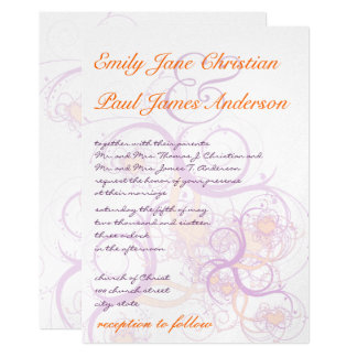 Orange and Purple Swirls and Hearts  Wedding Card