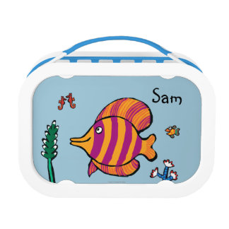 Orange and Purple Tropical Fish with Seahorses Lunch Boxes