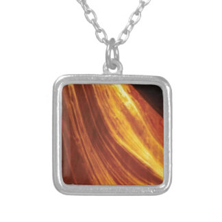 orange and red flow silver plated necklace