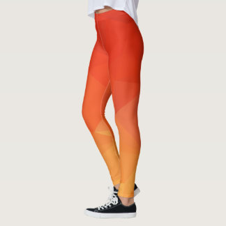 Orange and Red Geometric Leggings