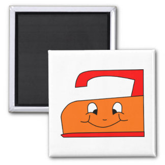 Orange and Red Iron Cartoon. On White. Square Magnet