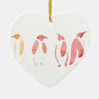 Orange and Red Penguins Ceramic Heart Decoration