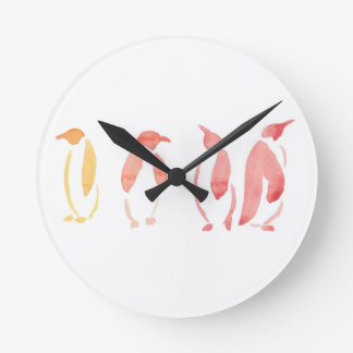 Orange and Red Penguins Round Clock