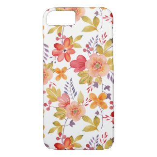 Orange and Red Spring Flowers Pattern iPhone 7 Case