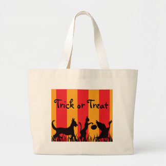 orange-and-red-stripe, three-friends, Trick or ... Tote Bags
