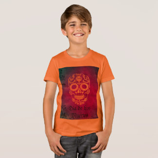 Orange and Red Sugar Skull/Day of the Dead T Shirt