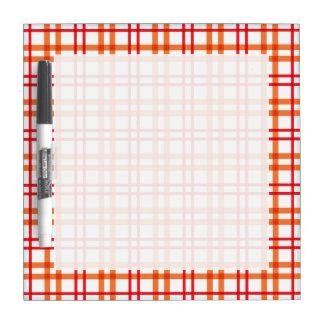 Orange and  Red Tartan Dry Erase Board
