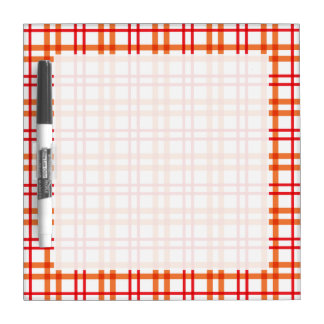 Orange and  Red Tartan Dry Erase White Board