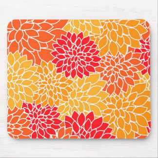 Orange and Red Vector Sunburst Flowers Mouse Pad