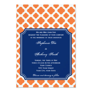 Orange and Royal Blue Quatrefoil Wedding Card