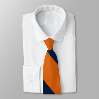 Orange and Shy Blue Broad University Stripe Tie