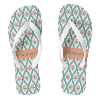 Orange and Teal Abstract Thongs