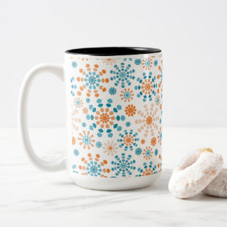 Orange and Teal Color Bursts Two-Tone Coffee Mug