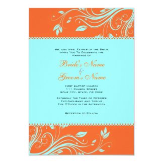 Orange and Teal Floral Swirls Wedding Invitation