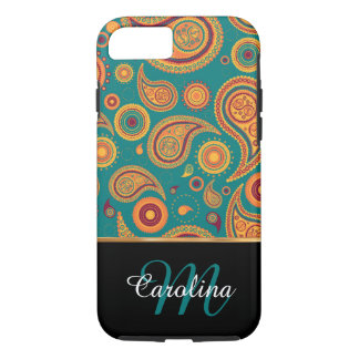 Orange and Teal Paisley,  Name and Monogram iPhone 7 Case