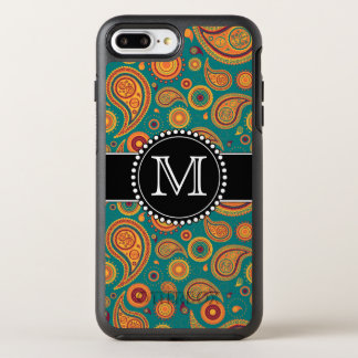 Orange and Teal Paisley Pattern, Monogrammed OtterBox Symmetry iPhone 7 Plus Case